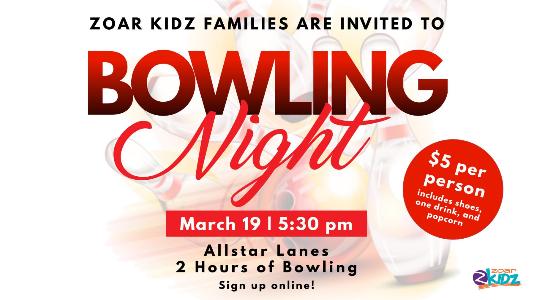 Zoar Kidz Bowling Night