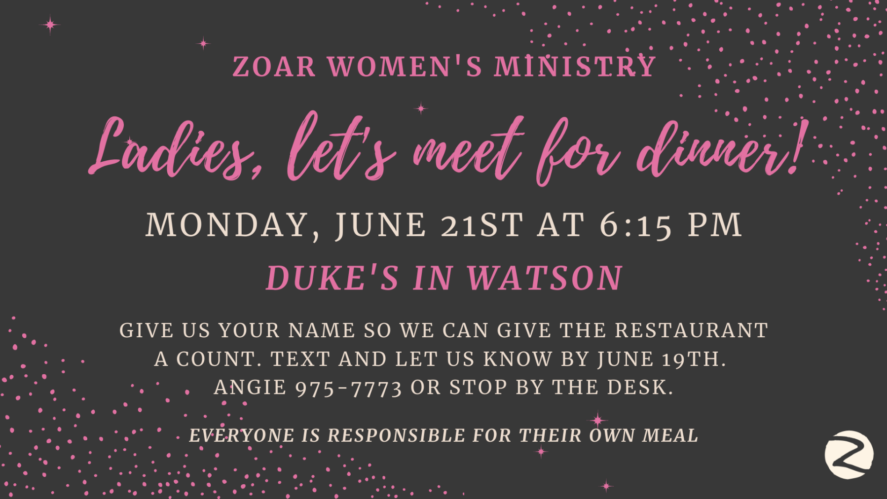 Women's Ministry - Dinner at Dukes Seafood